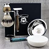 Gold Antique 6 Pieces Men's Shaving Kit with Double Edge Safety Razor, Silver Tip Badger Hair Brush, Dual Stand for Razor & Brush, Bowl, Soap & Alum Stick Perfect Gift Set for Men