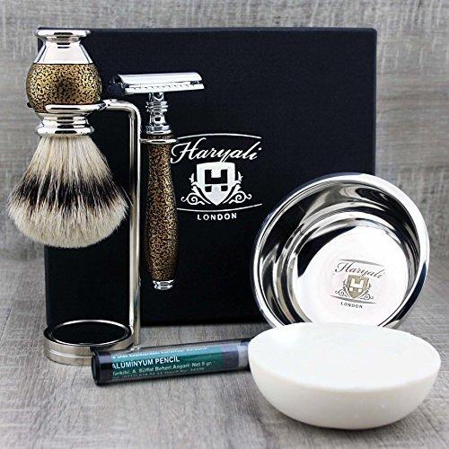 Gold Antique 6 Pieces Men's Shaving Kit with Double Edge Safety Razor,...