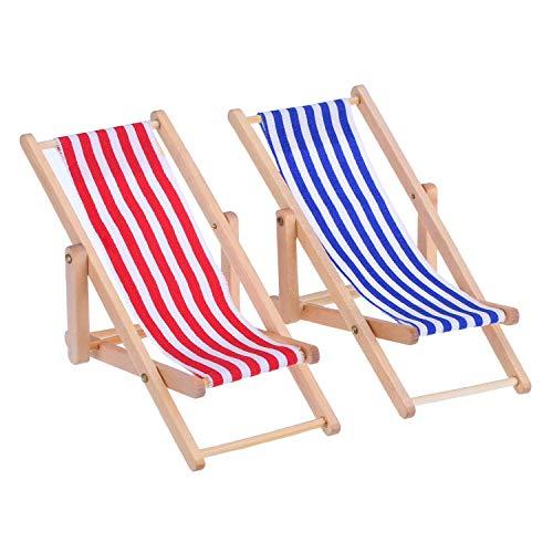 Bocotoer Rot/Blau Streifen 1:12 Miniatur Faltbarer Hölzerner StrandStuhl Mini Möbel Zubehör für Indoor Outdoor 2 Stück