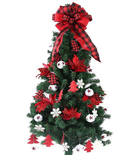 FLASH WORLD 40ct Christmas Tree Ornament Set,Xmas Tree Decorations with Gnome hat,Topper Bow,Hanging Decorative Set for Christmas Holiday Party Decor (Red and White)