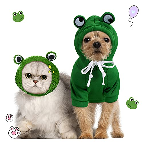 Hillban 2 Pieces Pet Clothes Dogs Hooded Sweatshirt and Cute Frog Shape Pet Hat Dog Warm Coat...