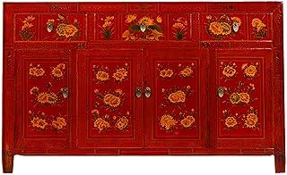 Yajutang - Aparador antiguo pintado a mano diseño de flores color rojo