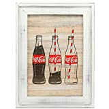 Open Road Brands Coca-Cola Glass Bottle with Straws, White Farmhouse Rustic MDF Wood Framed Wall Art - an Officially Licensed Product Great Addition to Add What You Love to Your Home/Garage Décor