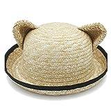 XueQing - Sombrero de rafia para decoración de sartén, para primavera, verano, para mujer, orejas de gato, diseño de orejas de gato, color negro, paja, Caqui claro, 56-58cm