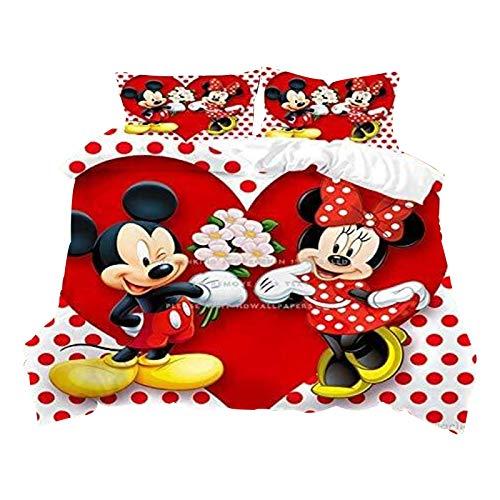 Bfrdollf Mickey & Minnie, Partner para ropa de cama, fundas de almohada y fundas de edredón, impresión 3D, microfibra, juego de cama para jóvenes (140 x 210 cm, 35)
