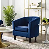 Modway Prospect Channel Tufted Upholstered Velvet Armchair, Navy