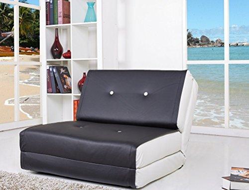 ARTDECO Schlafsessel Jugendsessel Gästebett Kindersessel Klappsessel Kunstleder schwarz-weiß klein