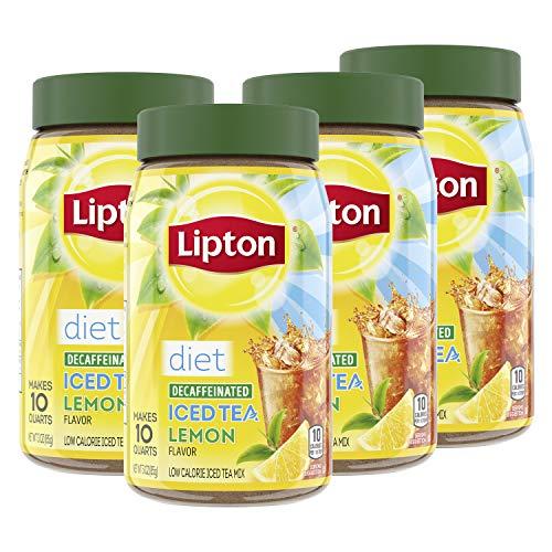 Lipton Iced Tea For a Cool Beverage Diet Decaffeinated Lemon Caffeine-Free, Sugar-Free Black Tea Mix 10 qt, pack of 4
