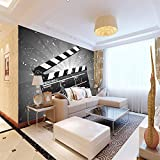 Papier peint intissé 3D Accessoires de cinéma Hd Impression D'Art Moderne Bureau Tv...