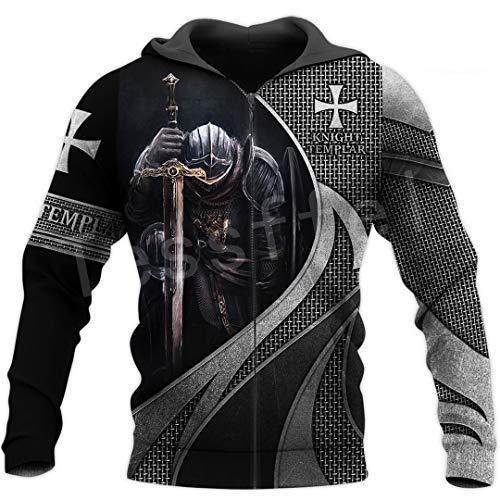 TN-KENSLY Caballero Templario Armadura Streetwear Harajuku Pullover Divertido Estampado 3D Cremallera/Sudaderas/Sudaderas/Chaqueta Zipper L