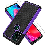 """Razstorm Design Heavy Duty Case for Motorola Moto G Stylus 5G with [2X Tempered Glass Screen Protector] Dual-Layer Protective Shockproof Cover (2021, 6.8"""") (Purple)"""