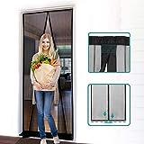 Eunizem - Pantalla magnética para puerta de poliéster con mosquitera magnética, cortina mágica, supersilenciosa, diseño de rayas, para evitar mosquitos o plagas, puerta magnética suave, 110 x 220 cm