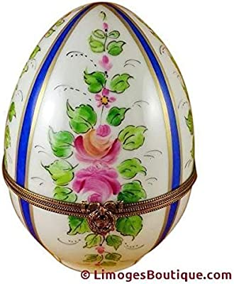 LARGE BLUE STRIPED EGG W/ FLOWERS - LIMOGES PORCELAIN FIGURINE BOXES AUTHENTIC IMPORTS