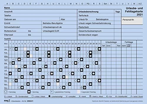 Urlaubs- und Fehltagekarte 2021 mit grafischer Darstellung, DIN A5 quer, Karteikarton