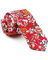 TAGERWILEN Men's Skinny Tie Floral Print Cotton Necktie, Great for Weddings, Groom, Groomsmen, Missions, Dances, Gifts (292)