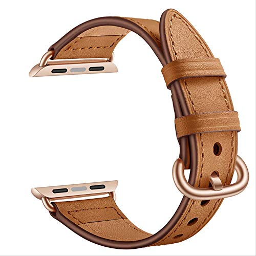 QSJWLKJ Correa de Cuero para Apple Watch Band Cowhide Watchband Pulsera Cinturón 42mm 44mm Marrón
