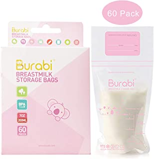 Burabi Breast Milk Freezer Storage Bags 6.8 OZ 60 Count for Nursing Mothers Breastfeeding Self-Standing NO Leakage