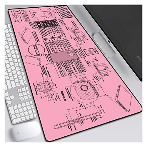 Almohadilla de ratón de juego grande con bordes cosidos: la almohadilla de ratón del diseño del teléfono del teléfono del teléfono móvil, con la base de goma natural antideslizante y la superficie imp