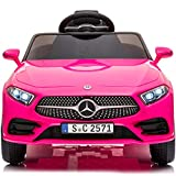 Little Brown box Kids 12V Licensed Mercedes Benz CLS Ride on Car,Driving Battery Operated Vehicle Toy W/ Parent Remote-Control,Music,Sounds& Lights - for Toddler,Baby,Children,37-95 Months Old - Pink