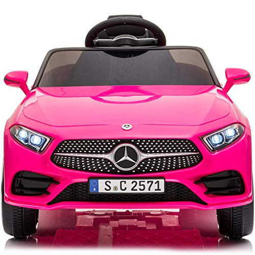 Little Brown Box Kids 12V Licensed Mercedes Benz CLS Ride on Car,Driving Battery Operated Vehicle Toy W/ Parent Remote-Control,Music,Sounds& Lights - for Toddler,Baby,Children,1,2,3 Years Old - Pink