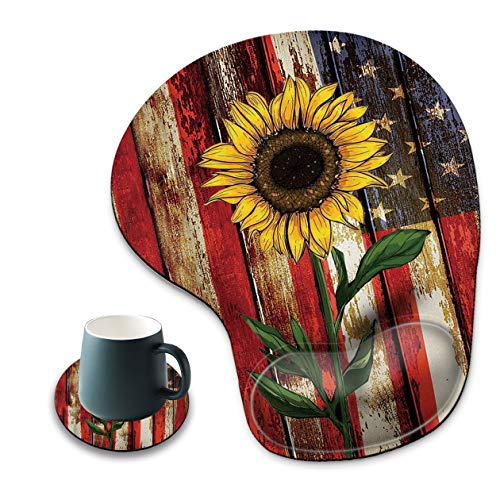 Mouse Pad with Wrist Rest, Non-Slip PU Base, Ergonomic Red line American Flag Sunflower Pattern Mouse Pad, Suitable for Work, Games, Office and Home Use + A Round Coaster
