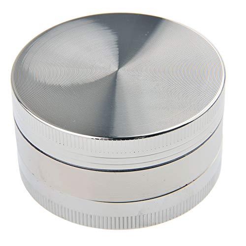 The Khan Outdoor & Lifestyle Company Kräutermühle/Fingermühle/Tabakmühle/Grinder aus Zinklegierung, Farbe: Silber, Mod. 525-02