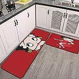 Betty Boop 2 Piece Kitchen Rug Floor Mat Kitchen Carpet Bathroom Area Rugs Doormat Runner Rug Set 17.1' x 29.52' inch + 17.1' x 59.05' inch
