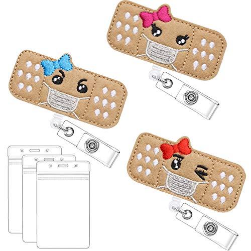 Felt Nurse Badge Reel and ID Card Holders Set, 3 Retractable Bandage Badge Holder with Alligator Clip 3 Nursing Name Badge Holders for Nurses Students Doctors