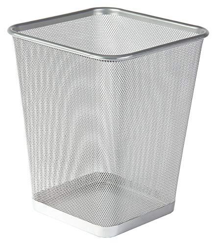 Depory Papelera cuadrada de malla metálica Papelera de diseño Papelera de baño o Papelera de Cocina Color (Plata)