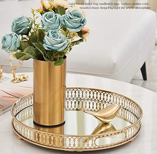 Cratone Bandeja decorativa de metal y cristal, estilo vintage, con espejo, bandeja de espejo, color dorado, rectangular, redonda, para escritorio, objetos pequeños, joyas, expositor