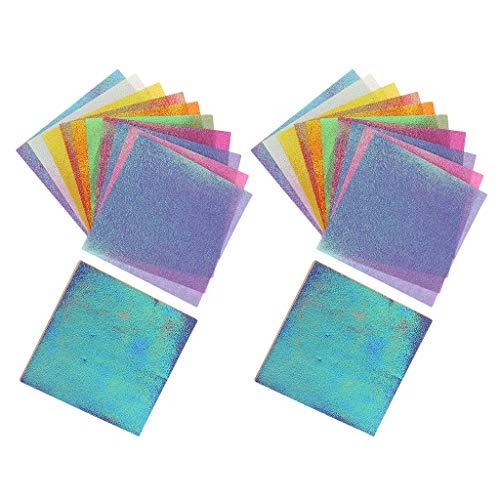 dailymall 100 PCS Multicolor Glitzer Papier Glitter Karte Bastelpapier Papier Glitzer glänzend Glitterkarton DIY