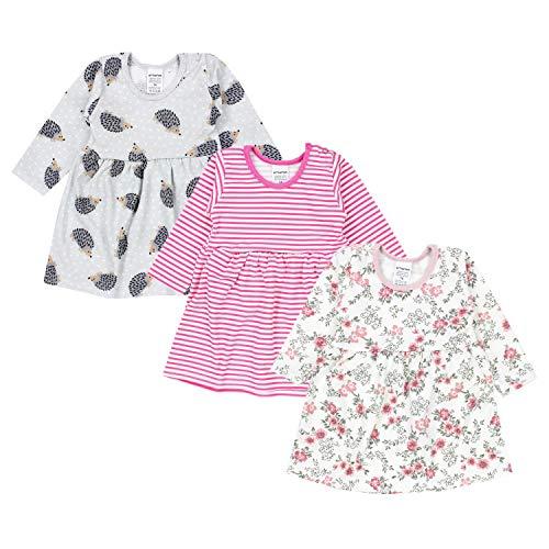 TupTam Baby Mädchen Kleid Langarm Tunika 3er Pack, Farbe: Farbenmix 3, Größe: 98