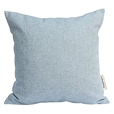 TangDepot Heavy Lined Linen Cushion Cover, Throw Pillow Cover, Square Decorative Pillow Covers, Indoor/Outdoor Pillows Shells - (18 x18 , Grey Blue)