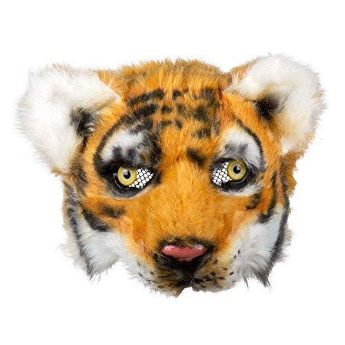 Boland 56751 - Plüsch-Halbmaske Tiger, Einheitsgröße, Schwarz, Weiß u. Hellbraun, Gesichtsmaske, Tiermaske, Fellmaske, Accessoire, Kostüm, Verkleidung, Karneval, Fasching, Mottoparty