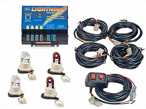 Wolo (8004-6CCRR) Lightning 80 Watt Power Supply Four Bulb Emergency Warning Strobe Kit - 2 Clear Bulbs, 2 Red Bulbs