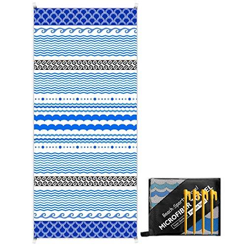 Magcubic Asciugamano da Spiaggia in Microfibra 180x80cm Extra Grande Telo Mare Senza Sabbia e Asciugatura Rapida Coperta da Viaggio con 4 Angoli di Fissaggio e Borsa per Spiaggia Nuoto Campeggio