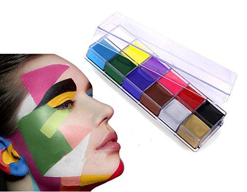 12 colori per pittura corporea, per teatro / pagliaccio / trucco di Halloween / coloritura viso, pittura a olio per travestimenti