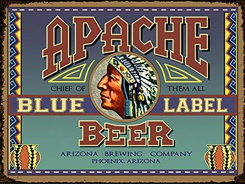 DGBELL Arizona Apache Blue Cartel de Chapa Retro Vintage Placa de Hierro Pintura Aviso de Advertencia Cartel Retro Cafe Bar película