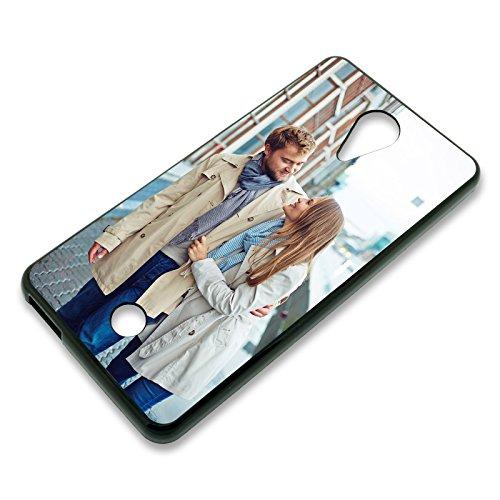 PixiPrints Personalisierte Premium Foto-Handyhülle selbst gestalten mit Foto Bedrucken, Hüllentyp: TPU-Silikon/Schwarz, Kompatibel mit Wiko Tommy