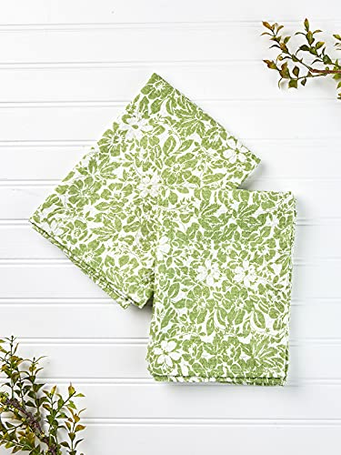 April Cornell Green Madison Floral Print 19 x 27 Inches 100% Cotton Kitchen Tea Towel - Set of 2