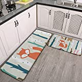 Kitchen Rugs and Mats Set of 2,Cartoon Cute Forest Fox Squirrel Hedgehog Rabbit Cushioned Anti-Fatigue Doormat with Non Skid Rubber for Kitchen,Floor Home,Office,Sink, Laundry,Grey Entrance Carpet