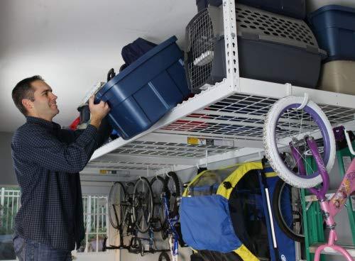 "SafeRacks 4x8-2 Rack Package w/Accessory Hooks 18-33"" Drop, White"