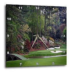 3dRose DPP_131410_2 Augustas Amen Corner Golf Course Golfers on Bridge Wall Clock, 13 by 13-Inch