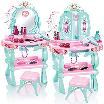 Toy Chef Little Fashion Play Vanity Set for Girls – Pink Kids Vanity – Pretend Play Vanity Table Set with Beauty Accessories – Light and Music Princess Set for 3 Year Olds – Table and Chair Included
