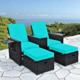 Patio Wicker Loveseat - Outdoor Rattan Sofa Set with Cushion - Adjustable Lounge...