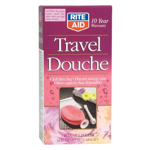Rite Aid Reusable Travel Douche with Storage Bag - 16 Fluid Ounce Capacity - Vaginal Douche for Women - Discreet and Compact Storage - Feminine Freshness on The Go - Soft Latex Bag Included