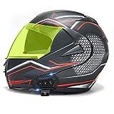 STZYY Motorcycle Flip-up Bluetooth Helmet Motorbike Crash Modular Full Face Helmet Dot/ECE Certification Motocross Racing Integrated Helmet with Double Sun Visor for Adult Men Women