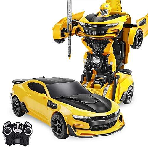 Kind Erwachsene RC Driften Stunt Remotely verformter Fahrzeug Bumblebee 1/18 Fernsteuerungsauto, Spielzeug Autobots Sportwagen 360 Grad;Drehen mit One-Button Deformation LED-Leuchten, Hobby-Geschenk 1