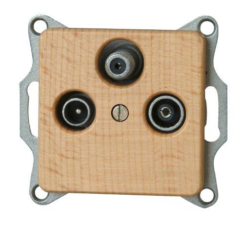 Kopp 917131082 Milano Buche Antennensteckdose mit drei Ausgängen, TV/RF/SAT, Einzel- und Durchgangsdose