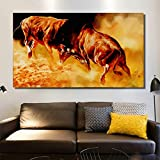 Pintura de lienzo de dos corridas de toros y animales salvajes en la sala de estar arte moderno de la pared cartel impermeable pintura sin marco 70x120cm